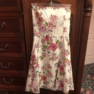 Cute floral strapless dress Ann Taylor Loft LN 4P
